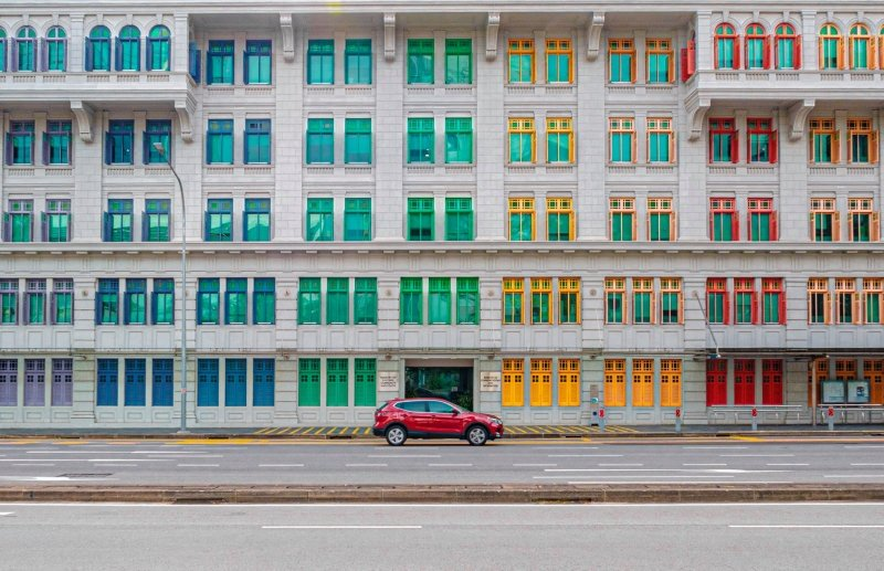 colourful window building
