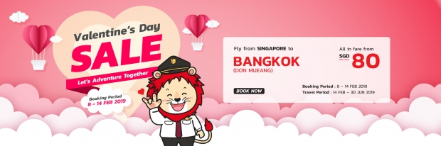 Valentines Sale in Thai Lion Air with Flights to Bangkok from SGD80