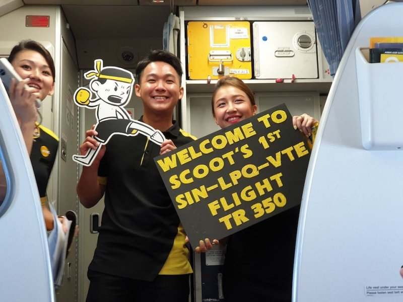 Scoot's inaugural flight from Singapore to Laos
