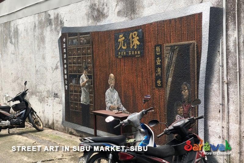wall mural at sibu central market