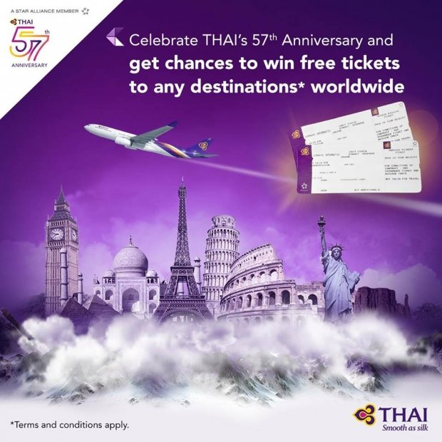 WIN Free Flights to any Destinations with Thai Airways' 57th Anniversary Special Contest