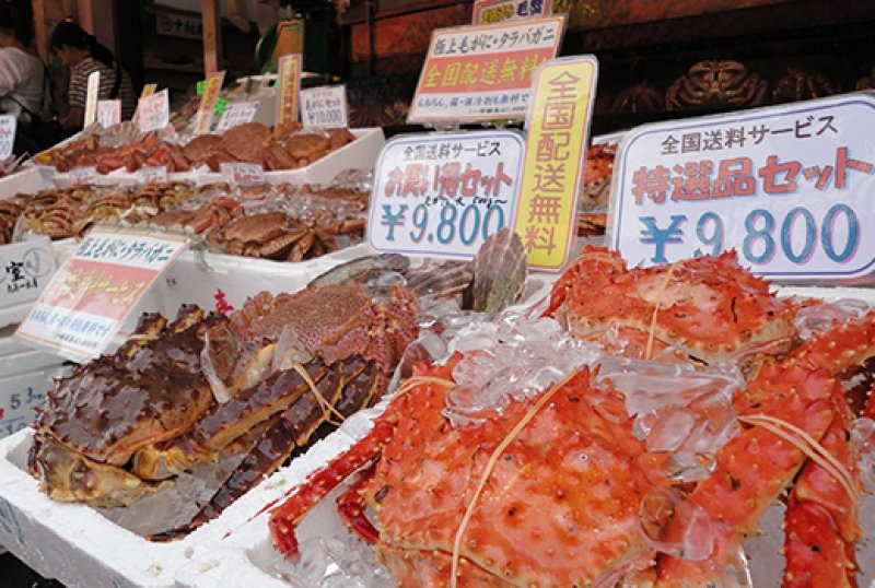 crabs kept in ice containers at Hakodate Morning Market
