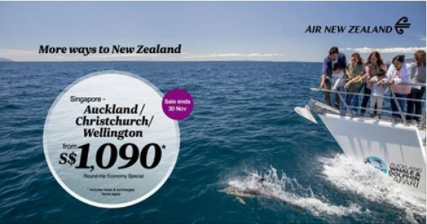 Explore Auckland and Wellington with Air New Zealand from SGD1,090