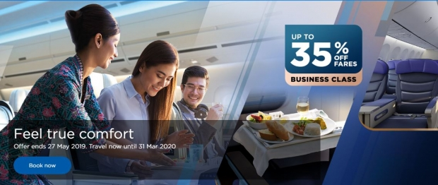 Feel True Comfort with Malaysia Airlines' Flight at 35% Off