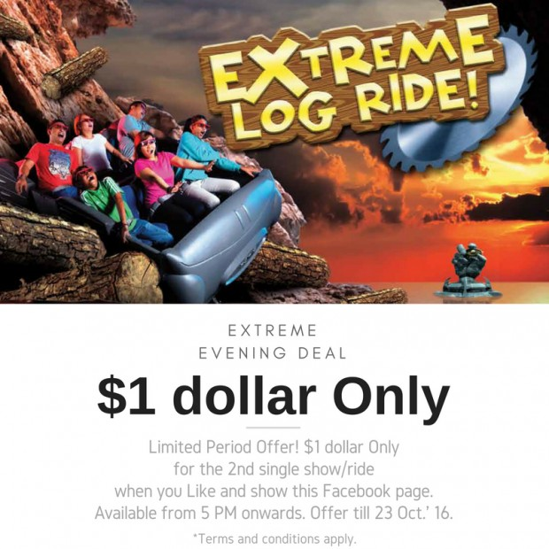 Extreme Log Ride at SGD1 in Sentosa 4D AdventureLand