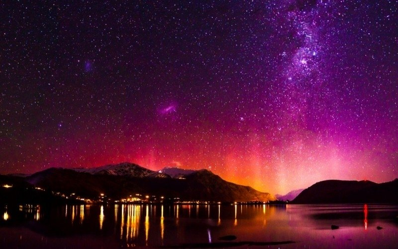 The Southern Lights Over Lake Hayes in New Zealand