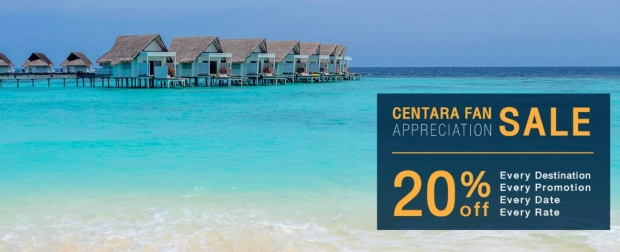 Centara Fan Appreciation: Enjoy up to 20% Off Stay at Centara Hotels
