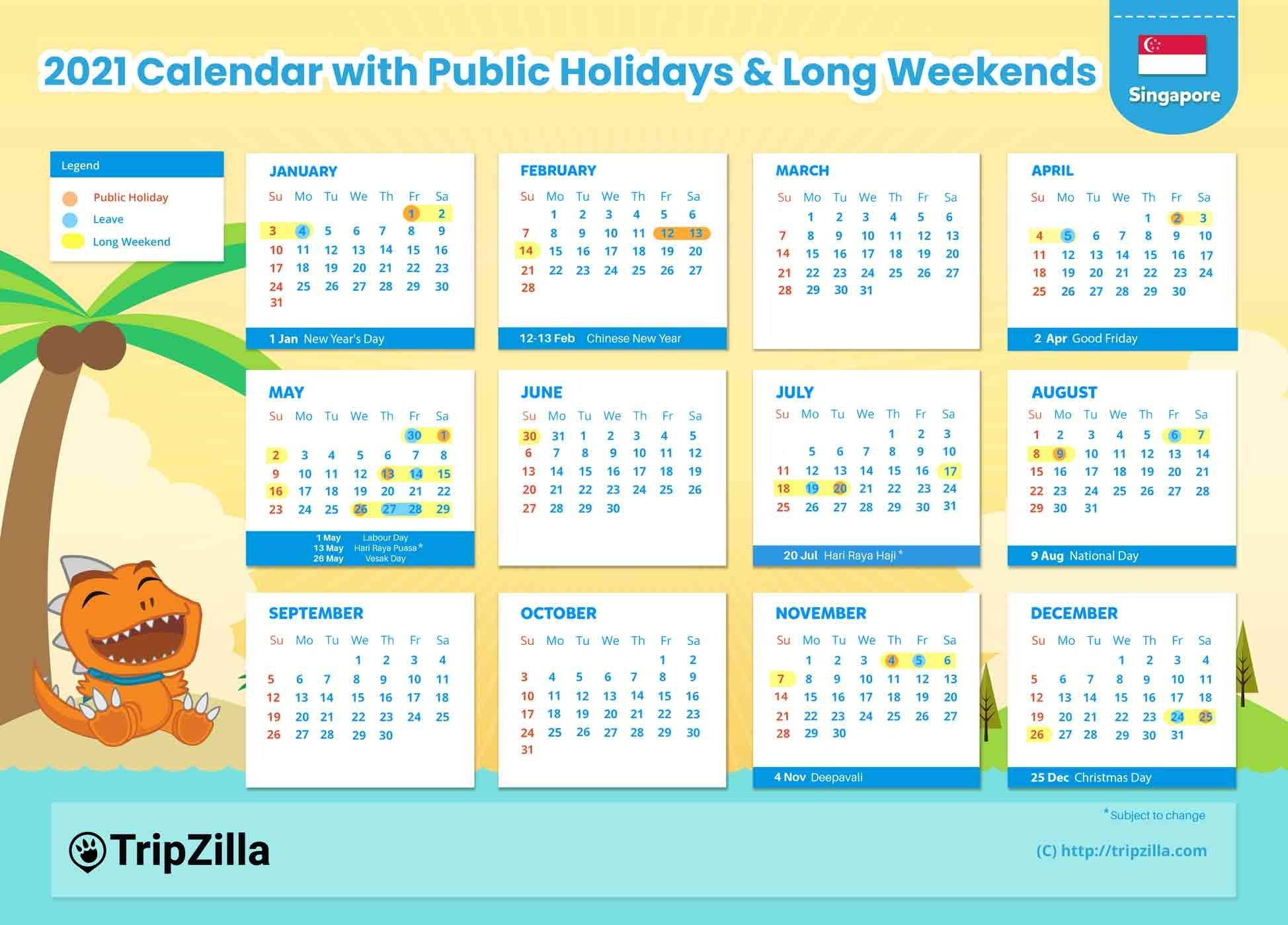 Singapore Calendar 2021 With Public Holidays | Calendar 2021