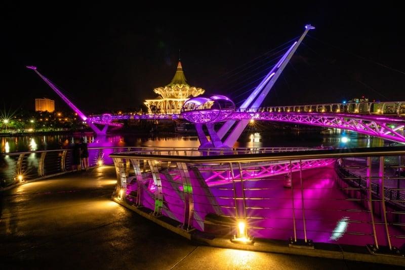 darul hana bridge illuminated at night