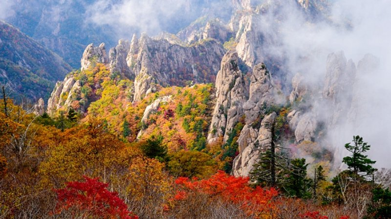 Hiking during autumn in Gangwon Province