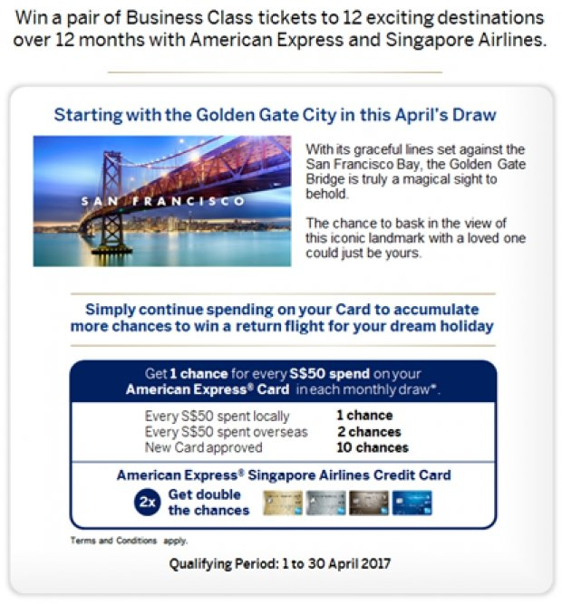 Win a Pair of Business Class Tickets on Singapore Airlines with AMEX 1