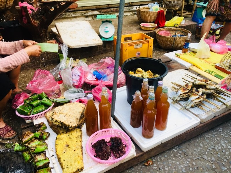 Street food at Luang Prabang Morning Market