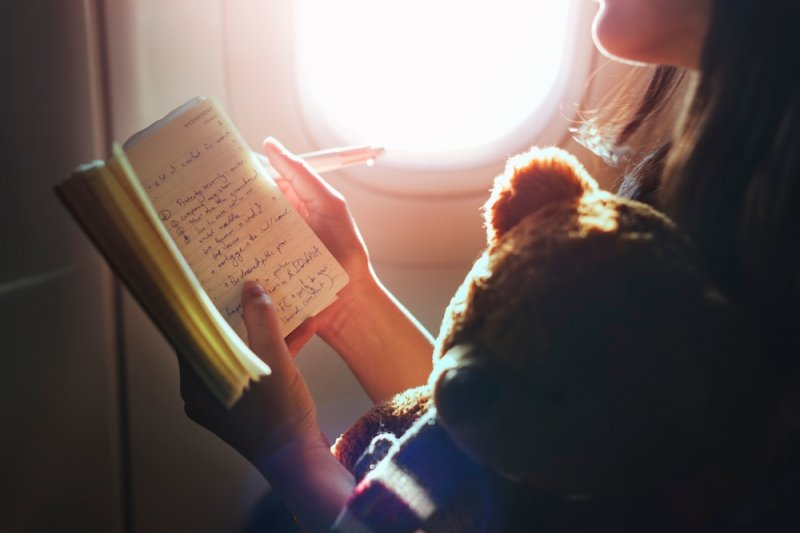 long-haul flight: read a book