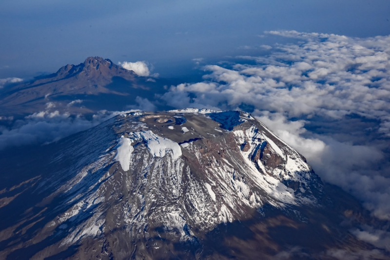 an aerial shot of mount kilimanjaro