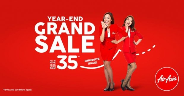 Year-End Grand Sale on Flights in AirAsia from SGD35