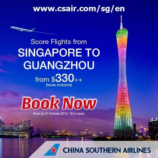 Fly to Guangzhou from SGD330 with China Southern Airlines