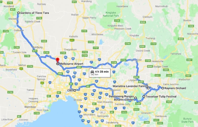 MELBOURNE SELF DRIVE ITINERARY MAP WITH ROUTE