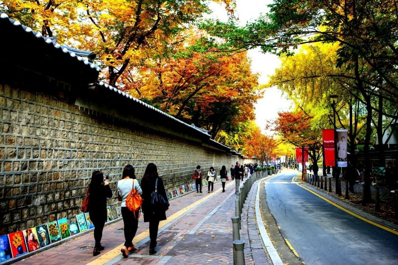 Deoksugung Stone Wall Road in Autumn