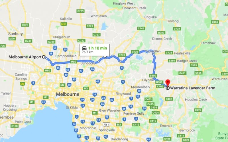 ROUTE FROM MELBOURNE AIRPORT TO WARRATINA LAVENDER FARM