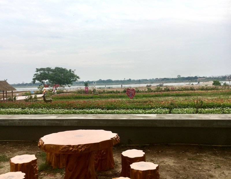 View overlooking Mekong River and Thailand from Buddha Park