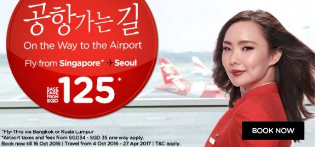 Travel to Seoul from SGD125 with AirAsia