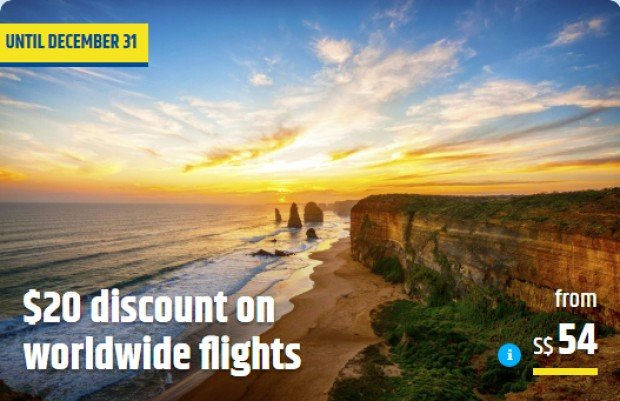 SGD20 Discount on Worldwide Flights via CheapTickets.sg