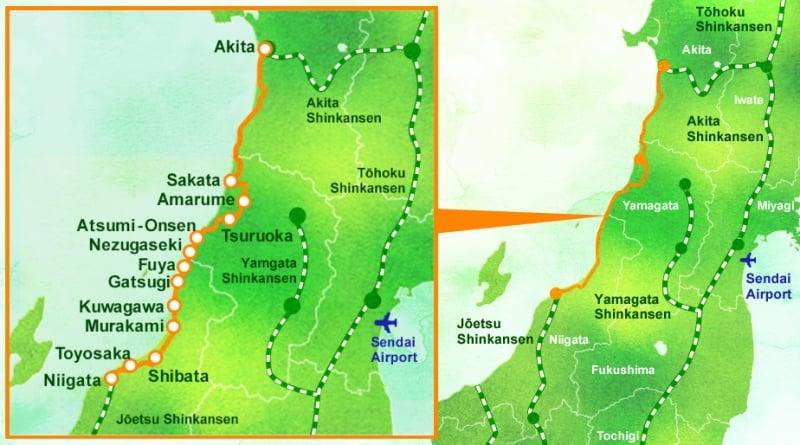 route map of kirakira uetsu and kairi