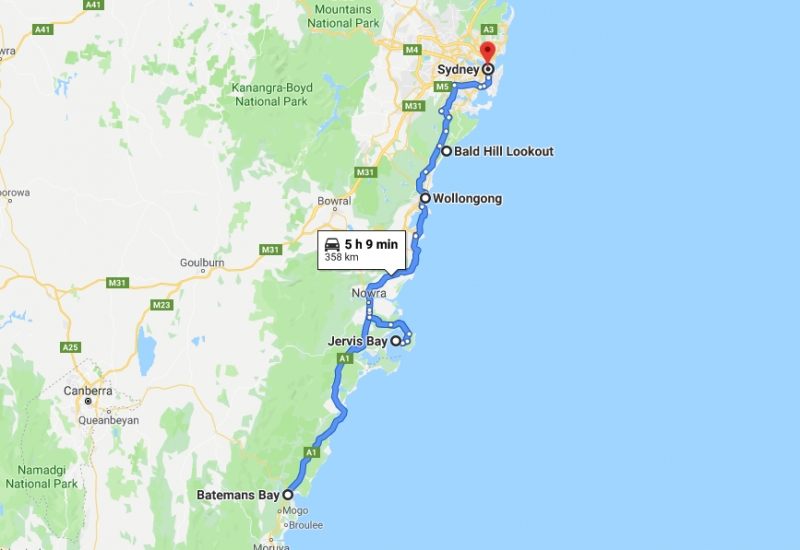 route from batemans bay to sydney
