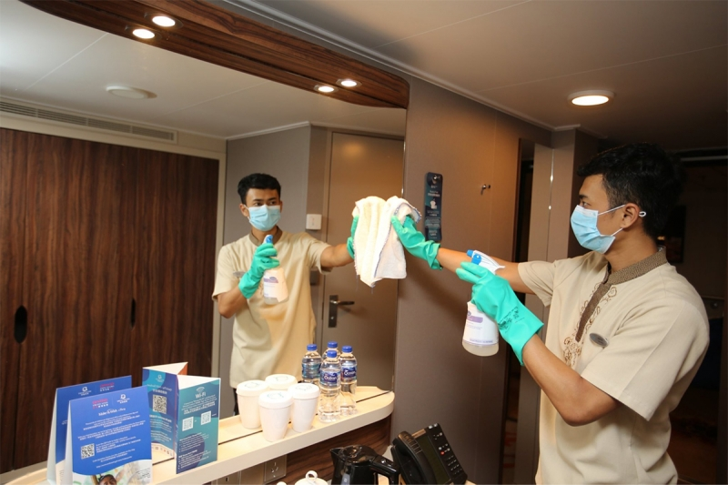 cruise staff cleaning cabins