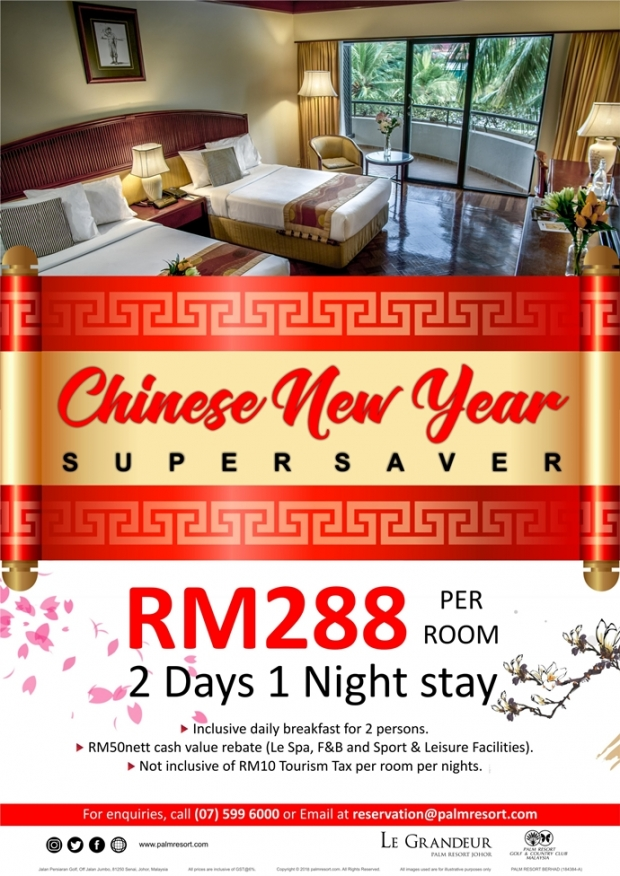 Chinese New Year 2018 Room Super Saver in Le Grandeur Palm Resort