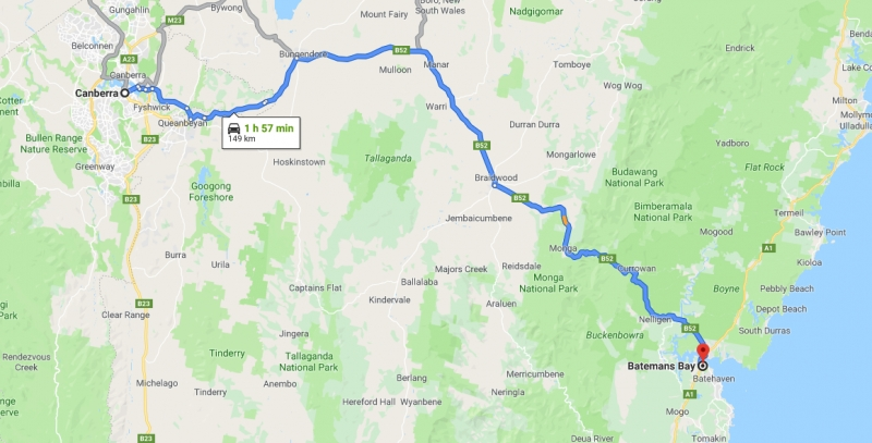 route from canberra to batemans bay
