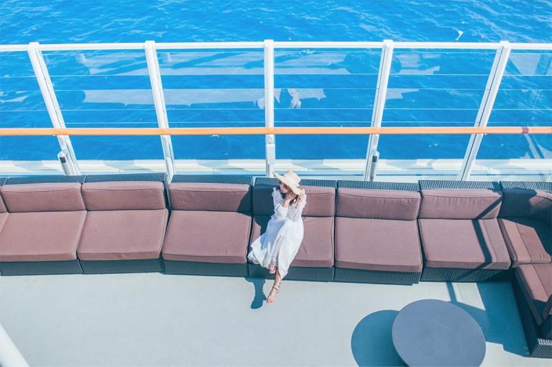 lady enjoying on a cruise