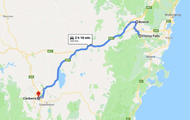 route from fitzroy falls to canberra