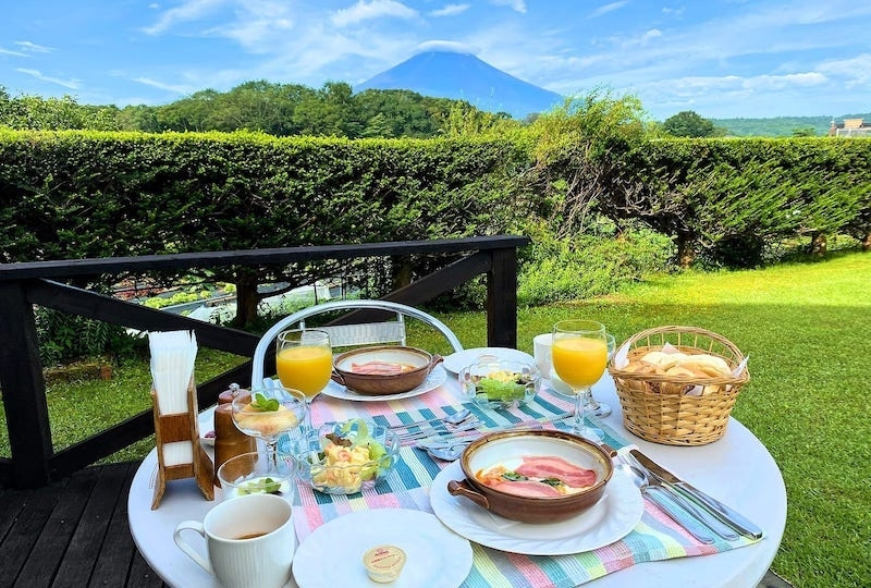 Picnic in the garden with a view of Mount Fuji