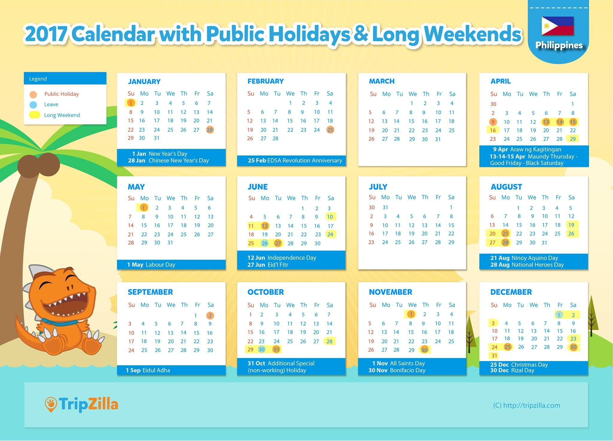 Philippine Calendar 2016 Printable | Calendar Template 2016