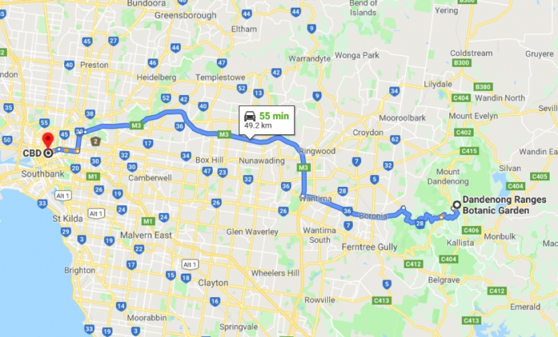 ROUTE FROM DANDENONG RANGES BOTANIC GARDEN TO MELBOURNE CBD