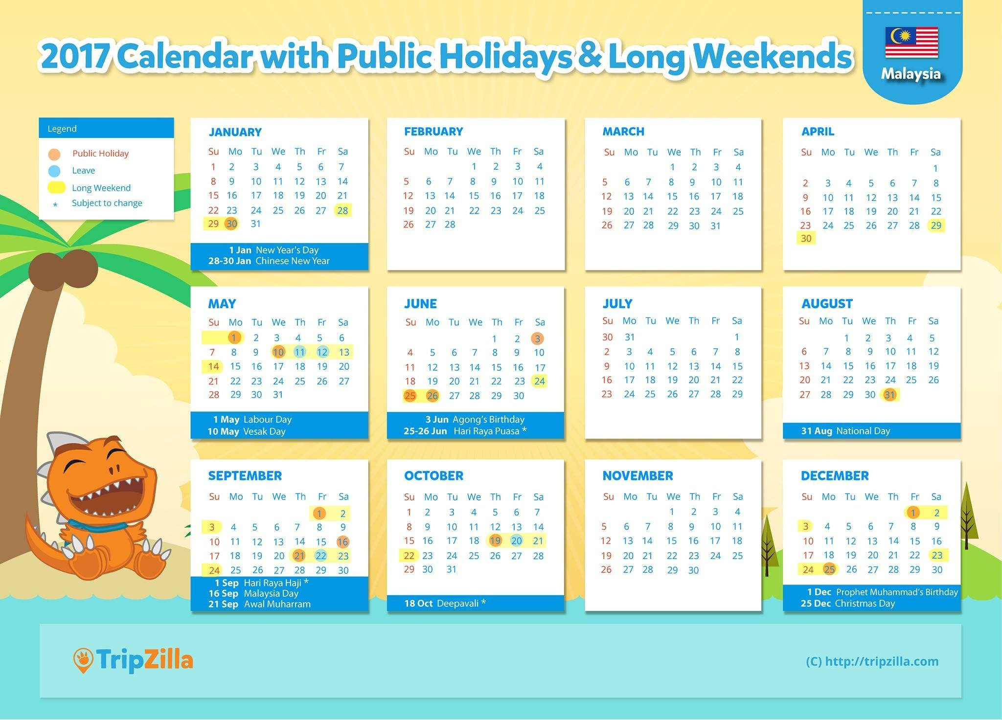 9 Long Weekends in Malaysia in 2017
