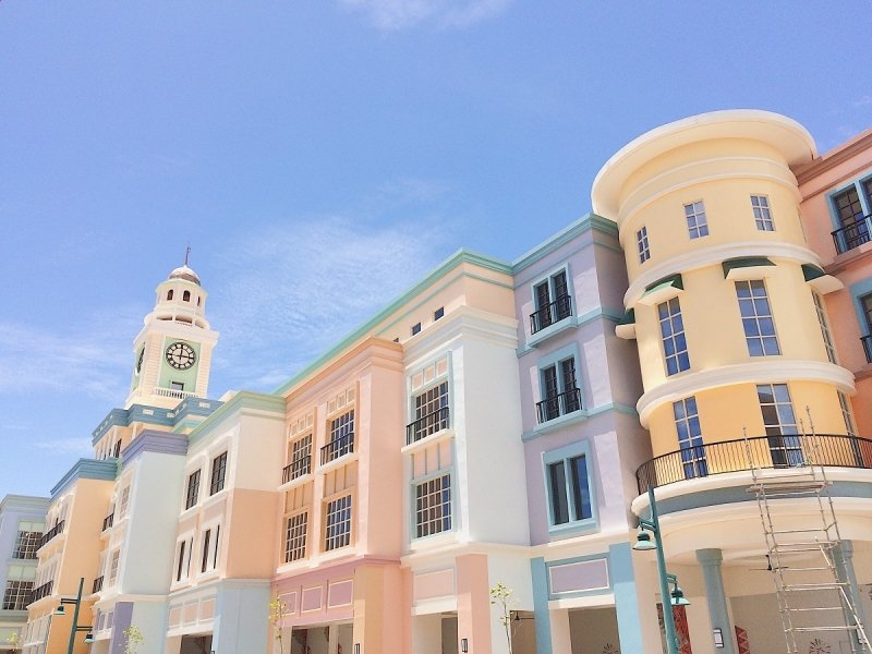 pastel-coloured buildings