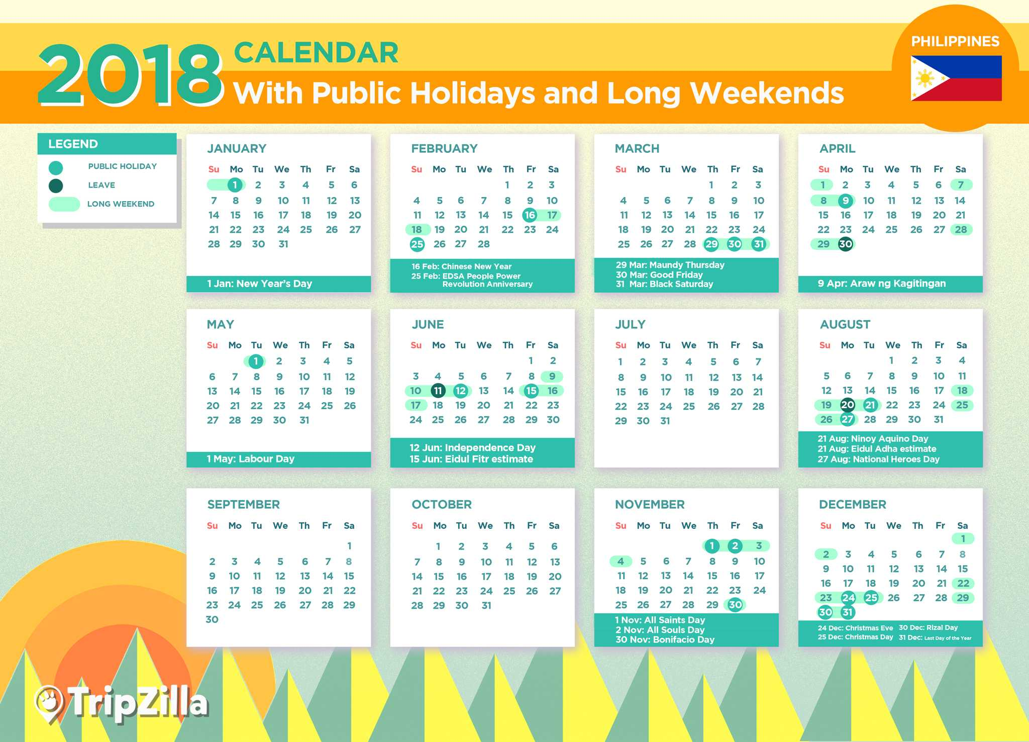 long weekends philippines 2018