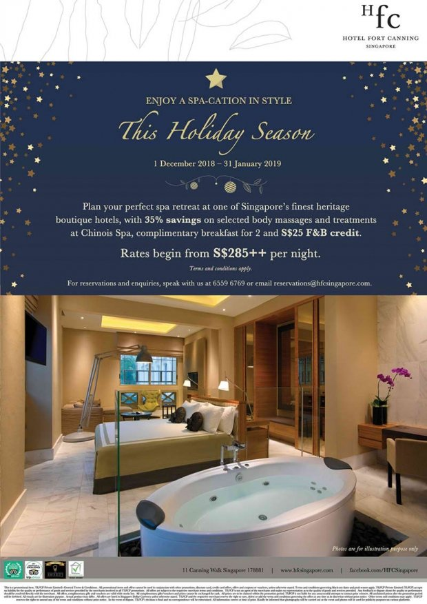 Spa-cation at Hotel Fort Canning for the Holiday from SGD285