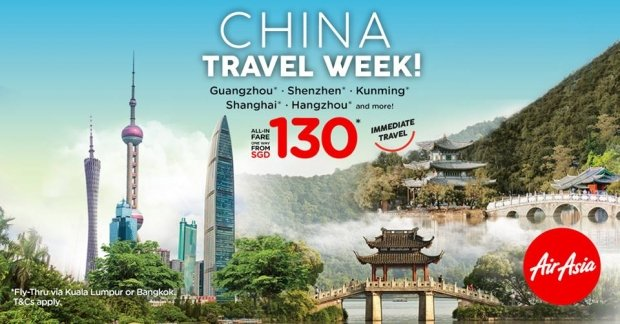 Explore China from SGD130 with AirAsia Flights