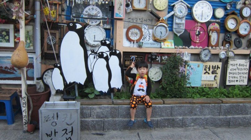 Yangnim-dong Penguin Village wall of clocks