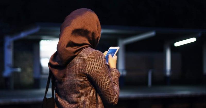 muslim girl hijabi holding phone