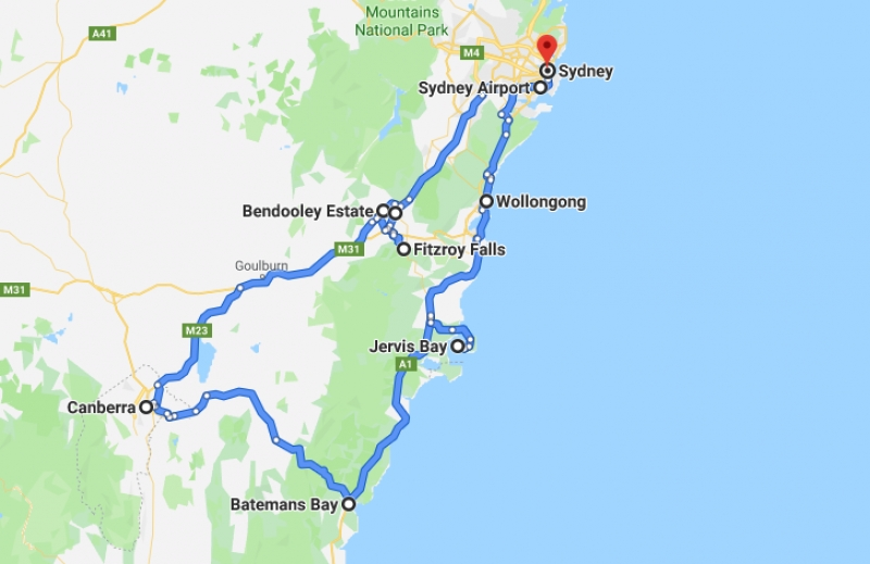 route for sydney & nsw road trip