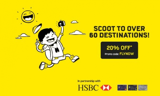 20% Off Selected Fares to 60 Scoot Destinations with HSBC