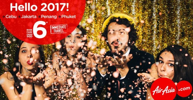 Welcome 2017 with Immediate Travel from SGD6 on AirAsia