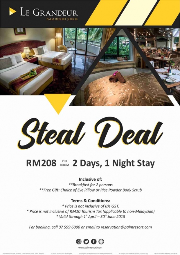 Steal Deal Room Promotion in Le Grandeur Palm Resort Johor from RM208