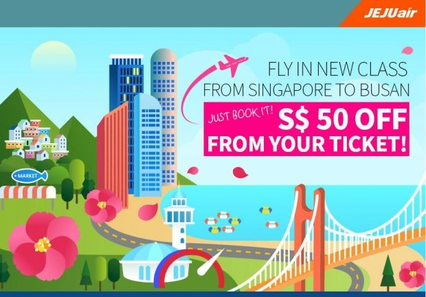 SGD 50 Off on Flight Ticket to Busan with Jeju Air