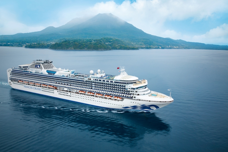Diamond Princess at sea near Kagoshima