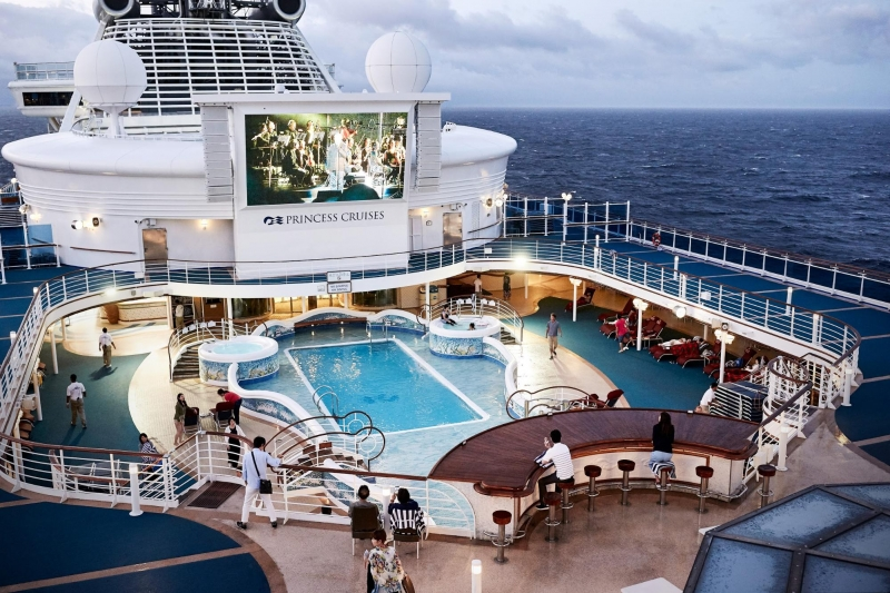 poolside movie screening on upper deck